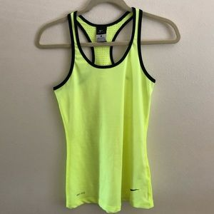 Neon yellow Nike pro hyper cool dry fit tank top